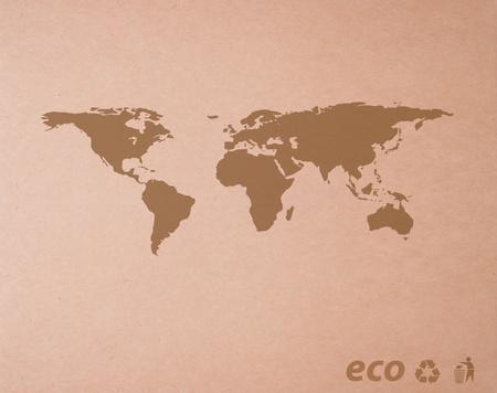 bruin gerecycleerd papier detail met Icon ecologische kaart wereld achtergrond