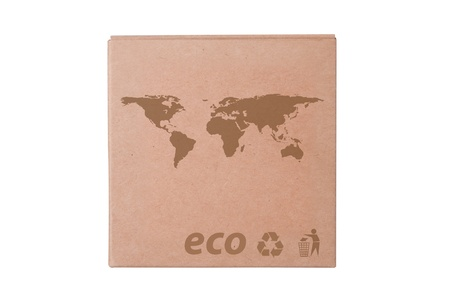 Cardboard box front view with Icon ecological isolated on white Stock Photo - 14411601