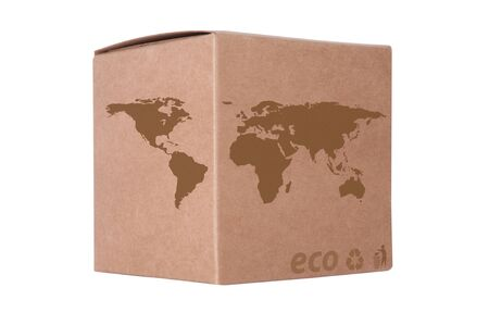 Cardboard box front side with Icon ecological map world background isolated on white Stock Photo - 14411605