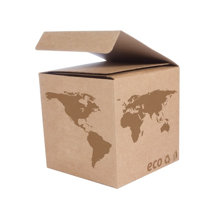 Cardboard box front side with Icon ecological map world isolated on white background photo