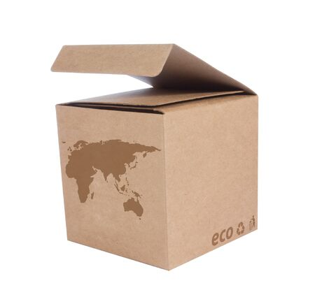 Cardboard box front side with Icon ecological map Euro Asia isolated on white background Stock Photo - 14411610