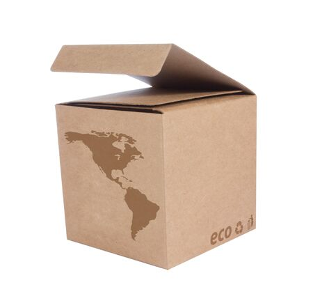 Cardboard box front side with Icon ecological map USA  isolated on white background Stock Photo - 14411609