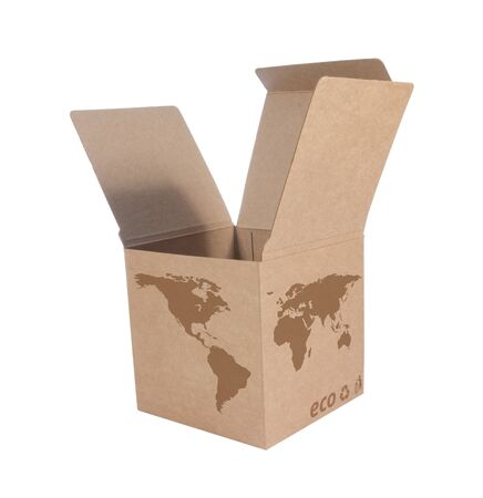 Cardboard box front side with Icon ecological map world isolated on white background Stock Photo - 14411599