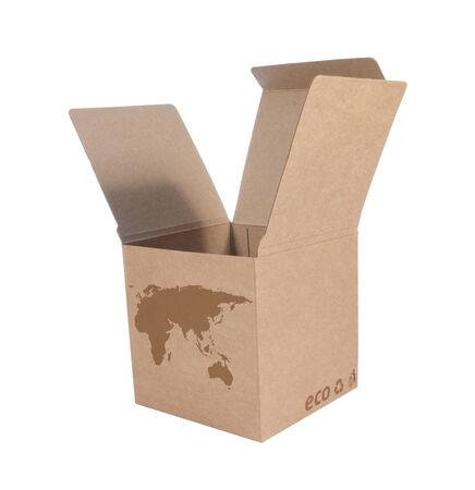 Cardboard box front side with Icon ecological map Euro Asia isolated on white background Stock Photo - 14411598
