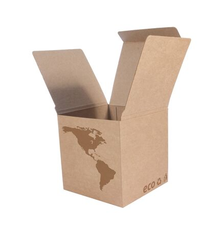 Cardboard box front side with Icon ecological map USA  isolated on white background Stock Photo - 14411600