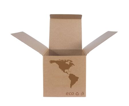 Cardboard box front side with Icon ecological map USA isolated on white background Stock Photo - 14411604