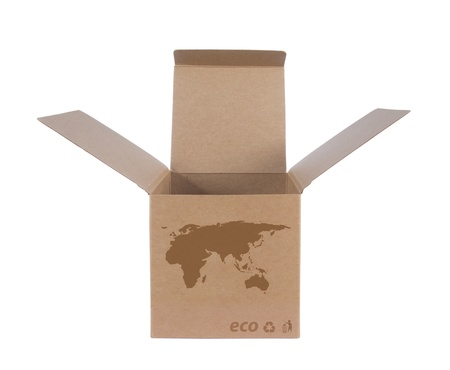Cardboard box front side with Icon ecological map Euro Asia isolated on white background photo