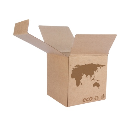 Cardboard box front side with Icon ecological map Euro Asia isolated on white background Stock Photo - 14411597