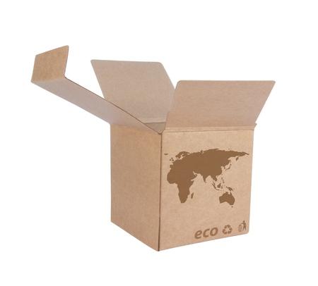 Kartonnen doos voorzijde met Icon ecologische kaart Euro Asia geïsoleerd op witte achtergrond