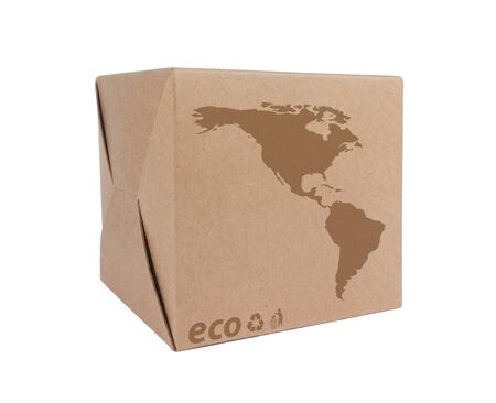 Cardboard box front side with Icon ecological map USA isolated on white background photo
