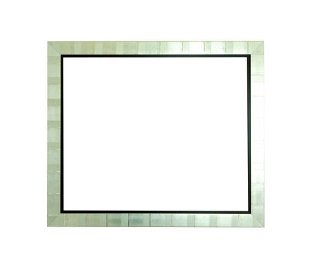 Blank silver picture frame on white background  photo