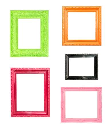 galeria fotografica: Pink Vintage marco de imagen, de madera chapada de fondo, madera azul Foto de archivo