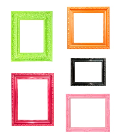 black picture frame: Pink Vintage picture frame, wood plated, blue wood background Stock Photo