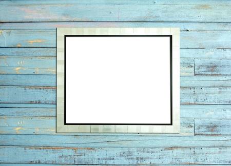 Silver Vintage fotolijst, hout verzinkt, blauw hout achtergrond, het knippen inbegrepen weg