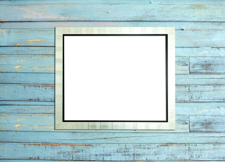 Silver Vintage picture frame, wood plated, blue wood background, clipping path included photo