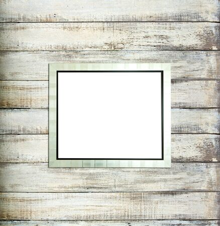 Silver Vintage picture frame, wood plated, old wood background, clipping path included photo