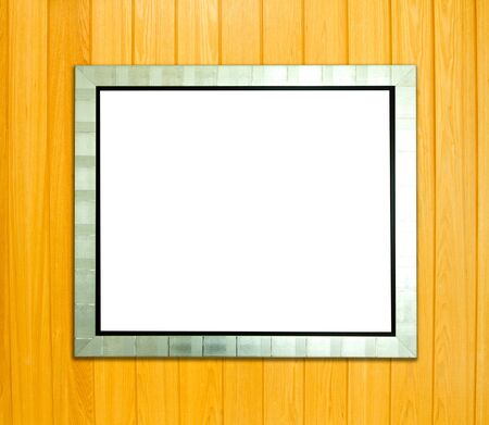 Silver Vintage picture frame, wood plated, wood background, clipping path included photo