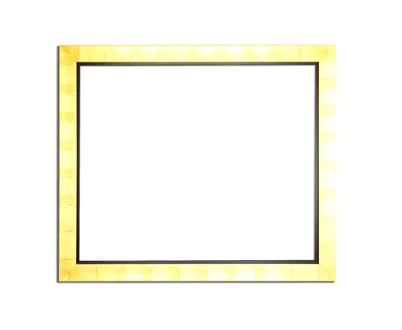 Gold Vintage picture frame, wood plated, white background, clipping path included photo