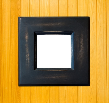 Black Vintage picture frame, wood plated, wood background, clipping path included photo