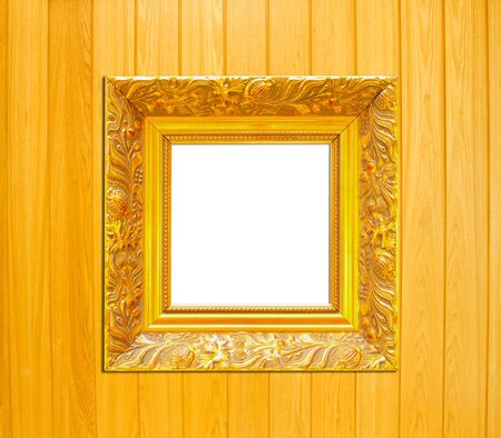 Gold Vintage picture frame, wood plated, wood background, clipping path included photo