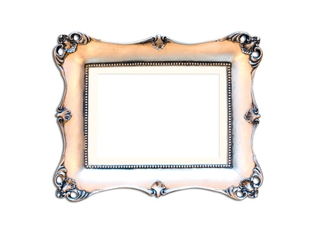 silver plated: Silver Vintage picture frame, wood plated, white background, clipping path included