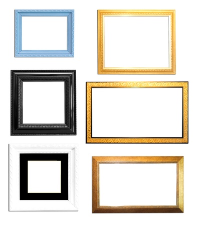 Collection Vintage picture frame, wood plated, white  background photo