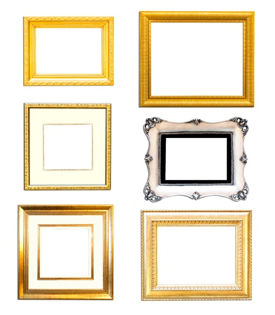 plated: Collection Vintage picture frame, wood plated, white  background Stock Photo