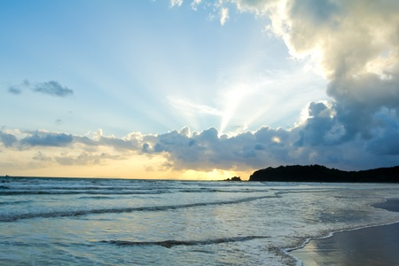 Tropical beach Sunset Sky With Lighted Clouds Stock Photo - 14795841