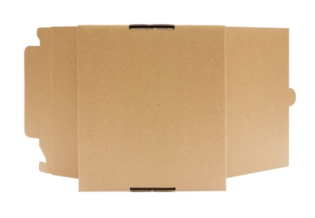 Cardboard box front view with isolated on white photo