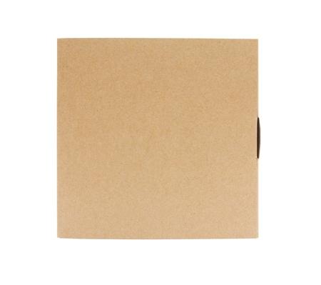 Recycle Kartonnen doos pakket vooraanzicht met geïsoleerd op witte achtergrond Stockfoto