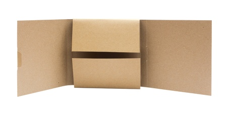 Recycle Cardboard box package front view with isolated on white background photo