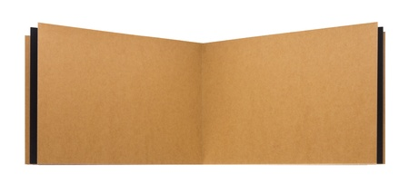 Open page recycled paper notebook isolated on white background. photo