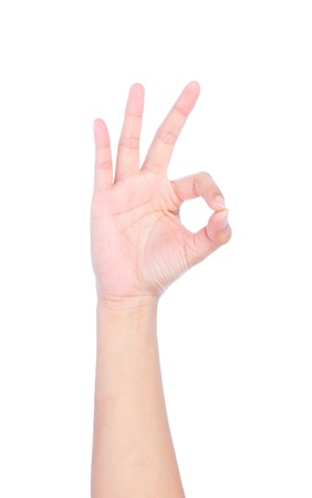 Hand OK sign isolated on white background. Stock Photo