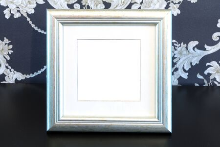 tableau: Silver Vintage picture frame, wood plated, vintage background, clipping path included