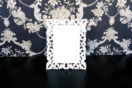 tableau: White Vintage picture frame, wood plated, old wood background, clipping path included