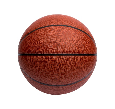 balon baloncesto: Primer plano de una pelota de baloncesto en el fondo blanco Foto de archivo