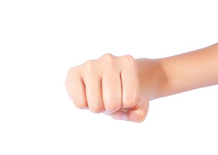 rally finger: Powerful fist pump against woman hands a white background