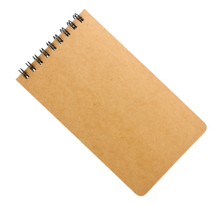 Gerecycled papier blanco notebook omslag op witte achtergrond. Stockfoto