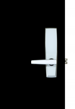 Aluminium door knob on the black door, white background  door white background  photo