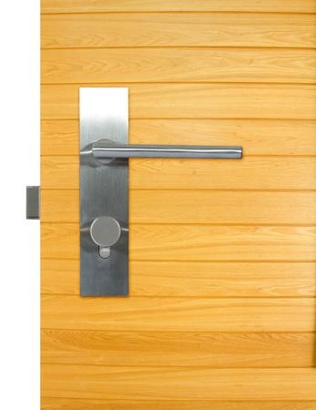 Aluminium door knob on the wood door, white background  door white background  Stock Photo - 18124764