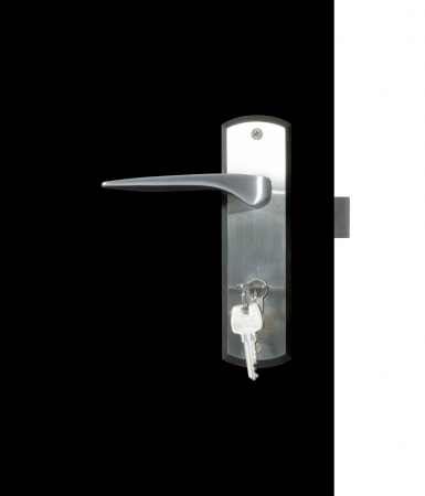 handle: Aluminium door knob on the black door, white background  door white background