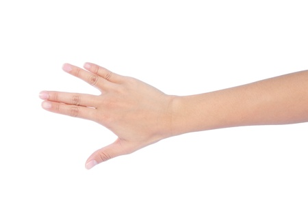 four objects: Image of female hand showing four fingers on a white background
