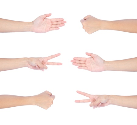 Rock Paper Scissors hand game set isolated on white background. photo