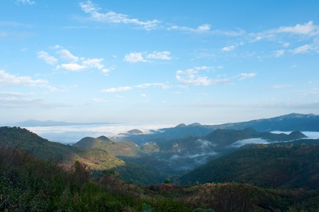 Foggy landscape in Angkhang Mountains,Northern of Thailand, photo