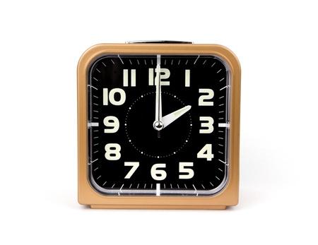 Gold alarm clock   Icon  Isolated on white Background Stock Photo - 18561612