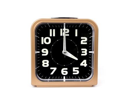 Gold alarm clock   Icon  Isolated on white Background Stock Photo - 18561606