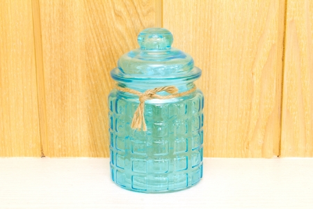 Blue glass jar, front view