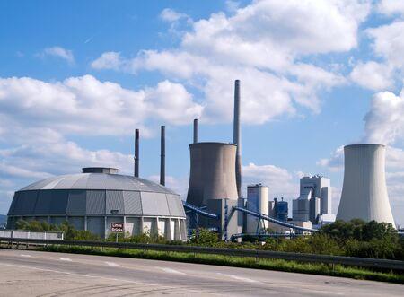 coal fired: Grosskrotzenburg, Germany, September 15, 2011: A working fossil-fuel power station, operator: EON Group.