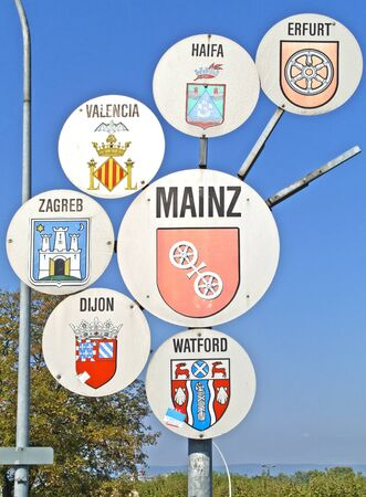 twinning: Place name sign of Mainz