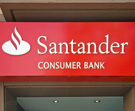 bank branch: Worms, Germany, November 1, 2011: Branch of spanish banking giant Banco Santander